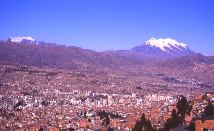 Mururata (on the left) and Illimani from the capital city of Bolivia - La Paz.