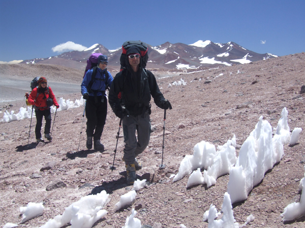 Marcus, Barry and Thom on the way to high camp. The peaks in the background are Veladero and Baboso. In 2000 an Andes group made the first recorded ascent of Baboso.