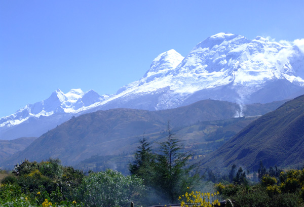 Huascaran and Huandoy seen from near Huaraz, Cordillera Blanca.