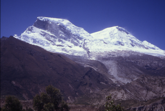 The two peaks of Huascaran seen from above Yungay