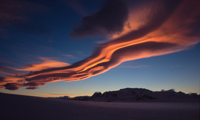 Sunset over Cerro Moreno, South Patagonian Icecap, Chile