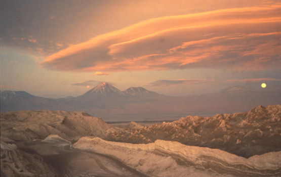 Sunset over Volcan Licancabur, seen from near San Pedro de Atacama, Chile.
