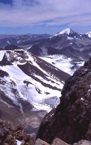 The peak of Tres Cruces from the summit of Ojos del Salado