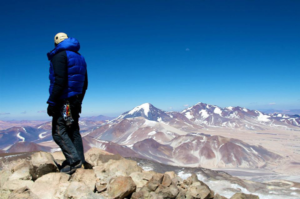 the top of Ojos del Salado at 6893m