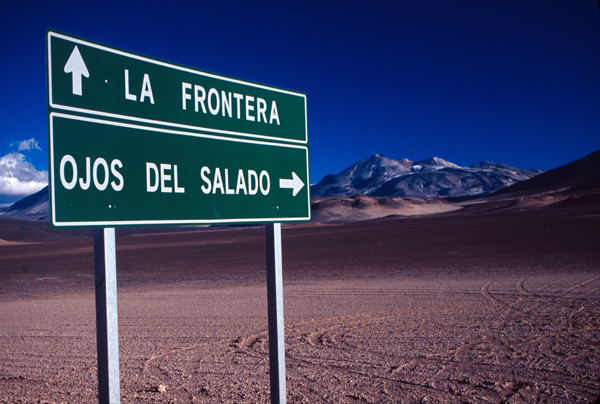 The Chilean side of Ojos del Salado, at 6893m, the worlds highest volcano.