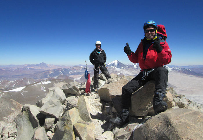Clients on the summit of Ojos del Salado, March 2016.