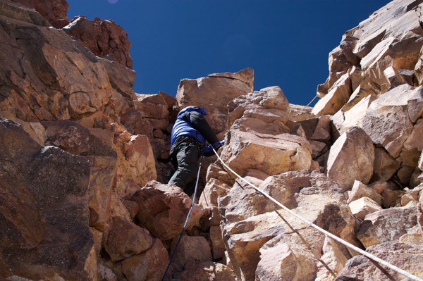 The chimney pitch at 6850m on Ojos del Salado.