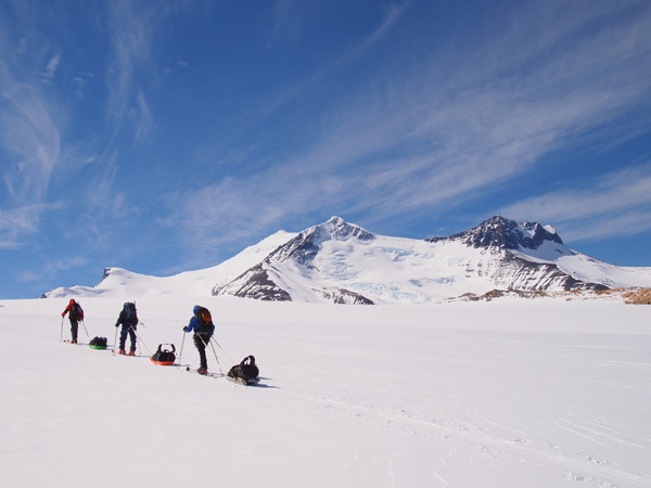 Skinning up towards Gorra Blanca form Paso Marconi on the South Patagonian ice-cap, accessed from Chalten in Argentina