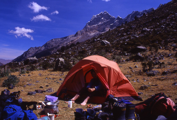 The first campsite at Llamacorral on the way to Alpamayo
