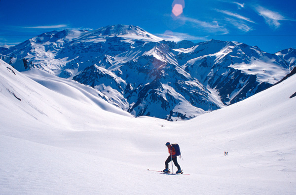 Ski mountaineering above Santiago, Chile