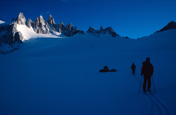 Setting off on skis from high camp for the summit of San Lorenzo, Chile.