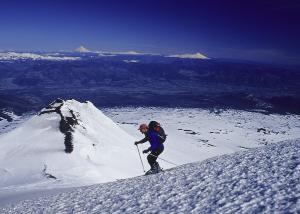 Skiing on Volcan Llaima, Chilean Andes