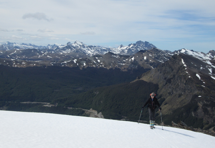 Skining up a peak in the Darwin range, Tierra del Fuego.