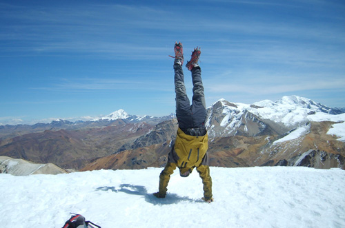 on the summit, Pere does his usual handstand.!