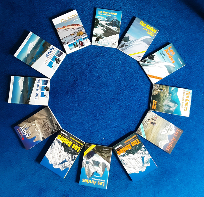 The 11 paper editiosn ofour guidebooks to the Andes. Plus two (unseen) E-books!