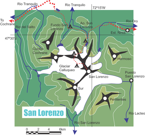 Map of San Lorenzo, Chilean Patagonia.