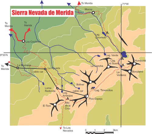 Andes Website Trekking In The Sierra Nevada Venezuela South: Map Of America Nevada At Usa Maps