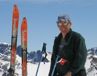 John Biggar, MIC, ski-mountaineering in Patagonia in 2005.