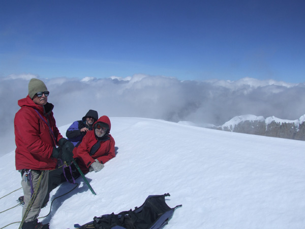 Three clients with a combined age of 195 on the summit of Ritacuba Blanco, Sierra Nevada del Cocuy, February 2009. You're never too old to do something adventurous.!