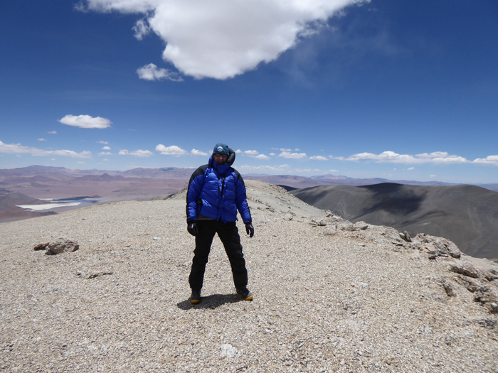On the summit of Vicuñorco, Sierra Laguna Blanca, Argentina.