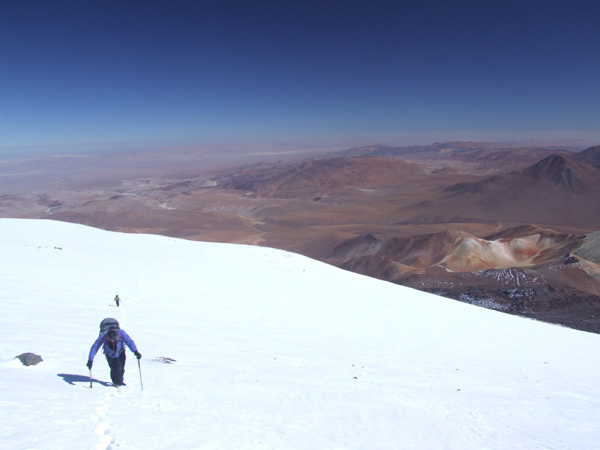 Climbing high on Volcan Llullaillaco, 2009 ANDES  expedition.