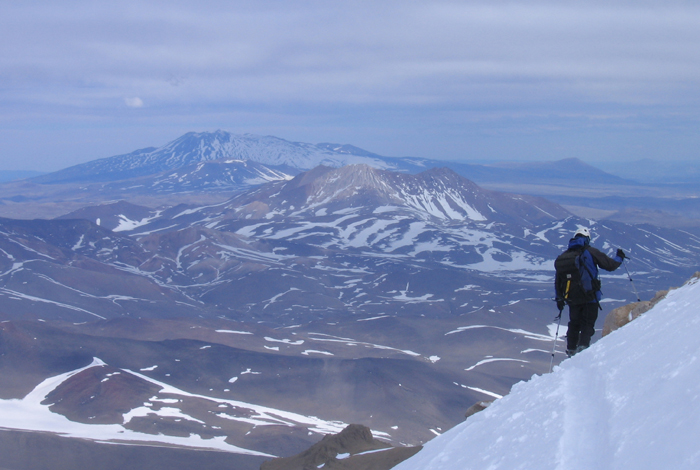 Skiing from just below the summit on Volcan Domuyo.