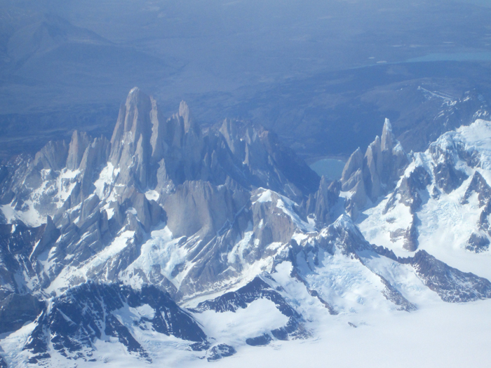 Fitzroy and Cerro Torre on the edge of the south Patagonian ice-cap.